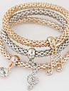 Women\'s Charm Bracelet Rhinestone Simulated Diamond Alloy Simple Style Fashion Music Notes Rainbow Jewelry 1set