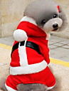 Cat Dog Costume Hoodie Dog Clothes Cute Christmas Solid Red Costume For Pets