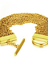 Vintage Gold Plating 316L Stainless Steel Multi-Layer Thin Twist Link Chain Bracelets
