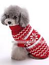Собака Свитера Одежда для собак Хлопок Зима Мода Рождество В снежинку Темно-синий Красный Для домашних животных