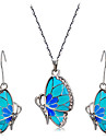 Women\'s Crystal Wedding Party Daily Casual Rhinestone Enamel Alloy Butterfly Animal 1 Necklace 1 Pair of Earrings
