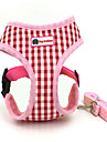 Dog Harness Safety Plaid/Check Fabric Coffee Blue Pink