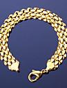 Homens Feminino Pulseiras em Correntes e Ligacoes Cobre 18K ouro Moda Vintage Estilo Boemio Forma Geometrica Dourado Joias 1peca