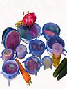 6PCS / مجموعة غطاء سيليكون عالمية ساران غطاء وعاء وتمتد الغذاء سيليكون عموم المطبخ فراغ غطاء سداده لون عشوائي