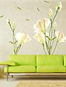 Romantika Virágok Botanikus Falimatrica Repülőgép matricák Dekoratív falmatricák, Vinil lakberendezési fali matrica Fal Glass / fürdőszoba