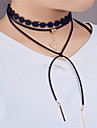 Women\'s Choker Necklaces Statement Necklaces Layered Necklaces Jewelry Triangle Shape Leather Lace Copper Unique Design Dangling Style