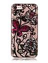 Кейс для Назначение Apple iPhone 7 Plus iPhone 7 IMD Прозрачный С узором Кейс на заднюю панель Бабочка Цветы Кружева Печать Мягкий ТПУ для