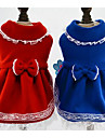 Собака Платья Рождество Одежда для собак Принцесса Темно-синий Красный Пух Хлопок Костюм Назначение Зима Жен. На каждый день Мода