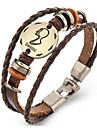 Homme Femme Cuir Bracelets en cuir - Retro Forme Geometrique Marron Bracelet Pour Cadeau