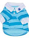 Chat Chien Tee-shirt Vetements pour Chien Rayure Rouge Bleu Coton Costume Pour les animaux domestiques Homme Femme Decontracte / Quotidien