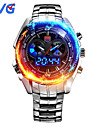 TVG KM-468 Men\'s Luxury Strap Watch Analog-digital Multifunctional LED Noctilucent Two Time Zones Calendar 50M Water Resistant Sport Wrist Watch