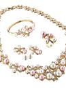 Mulheres Perola / Strass / Chapeado Dourado Conjunto de joias Aneis / Brincos / Colares - Luxo / Casamento / Elegant Joias Rosa claro