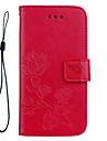 Case For Apple iPhone 7 Plus iPhone 7 Card Holder Wallet Shockproof with Stand Flip Pattern Embossed Full Body Cases Solid Color Flower
