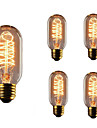 5pcs T45 E27 40W Incandescent Vintage Edison Light Bulb For Restaurant Club Coffee Bars Light AC110-130V