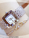 Women's Bracelet Watch Square Watch Quartz Stainless Steel Silver / Gold Water Resistant / Waterproof Creative Analog Ladies Casual Bangle Fashion Elegant - Gold Silver