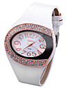 Women\'s Fashion Watch Unique Creative Watch Simulated Diamond Watch Chinese Quartz Imitation Diamond Leather Band Sparkle White Red Brown