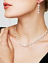 Női Kristály Ékszer szett - Hamis gyémánt Virág Divat, Elegáns, Menyasszonyi tartalmaz Függők Nyaklánc / fülbevaló Arany / Ezüst / Fehér / Fehér Kompatibilitás Esküvő Parti Évforduló / Naušnice
