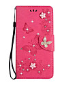 Case For Sony Xperia XA Ultra Sony Card Holder Wallet Rhinestone with Stand Flip Full Body Cases Solid Color Butterfly Hard PU Leather for