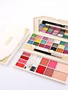 34 Po Blush+Sombra para Olhos Sobrancelha+Gloss Labial Molhado Mate Brilho Mineral Olhos Rosto Controlo de Oleo Longa Duracao