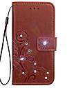 Estojo para nokia lumia 530 630 caso porta-carteira carteira rhinestone com suporte flip em relevo caso de corpo inteiro flor dura pu