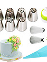 11pcs /set russian nozzles silicone bag three-color coupler piping tips rose flower leaf