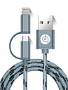 USB 2.0 Cable, USB 2.0 to Micro USB 2.0 Lightning Cable Male - Male 1.5M (5Ft)