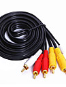 3RCA Connect Cable, 3RCA to 3RCA Connect Cable Male - Male Gold-plated copper 1.5m(5Ft)