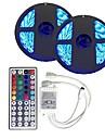 Ensemble de Luminaires 300 LED RVB Telecommande Decoupable Intensite Reglable Couleurs changeantes Auto-Adhesives Connectible DC 12V