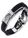 Men\'s Leather Bracelet Hip-Hop Rock Leather Titanium Steel Skull / Skeleton Jewelry For Party Birthday Gift Evening Party