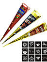 3 Pieces Henna Tattoo Kits Cones Red Brown Black Colors with 15 Stencils Temporary Tattoo Kit Body Art Mehandi Ink Henna Tattoo Temporary Paint