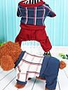 Собака Комбинезоны Одежда для собак Хлопок Весна/осень Зима На каждый день В клетку Серый Красный Для домашних животных
