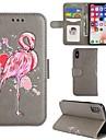 Кейс для Назначение Apple iPhone X iPhone 8 Кошелек Бумажник для карт со стендом Флип Чехол Фламинго Твердый Искусственная кожа для