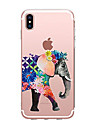 Capinha Para Apple iPhone X iPhone 8 Transparente Estampada Capa traseira Elefante Macia TPU para iPhone X iPhone 8 Plus iPhone 8 iPhone