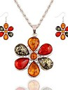 Women\'s Crystal / Rhinestone Crystal Flower Jewelry Set 1 Necklace / Earrings - Classic / Fashion Silver Drop Earrings / Pendant Necklace