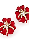 Women\'s Stud Earrings Rhinestone Classic Fashion Sweet Imitation Diamond Alloy Flower Jewelry Black Red Royal Blue Gift Daily Costume