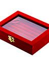 صندوق المجوهرات الكم صندوق مربع أسود أحمر قماش