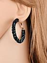 Femme Boucles d\'oreille gitane - Elegant Mode Noir Bleu de minuit Forme de Cercle Des boucles d\'oreilles Pour Cadeau Soiree