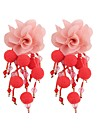 Tassel / Geometric / Long Drop Earrings - Floral / Botanicals, Flower Sweet, Fashion Red / Green / Light Blue For Evening Party / Work