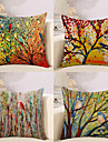 4 pcs Cotton / Linen Pillow Cover, Botanical / Animal / Oil Painting Artistic Style / Pastoral Style