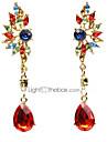 Women\'s Crystal Chandelier Drop Earrings - Cubic Zirconia, Imitation Diamond Wings Red / Green For