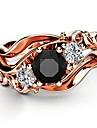 Γυναικεία Μαύρο Οψιανός Πεπαλαιωμένο Στυλ Δαχτυλίδι Χαλκός Με Επίστρωση Ροζ Χρυσού Προσομειωμένο διαμάντι Πέταλο κυρίες Κορεάτικα Μοντέρνα Κομψό Μοδάτο Δαχτυλίδι Κοσμήματα Χρυσό Τριανταφυλλί Για