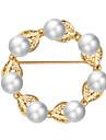 Dame Perle Lyserød Hul Brocher - Imiteret Perle Bladformet, Blomst Luksus, Sød, Elegant Broche Guld Til Fest / Forlovelse / Gave