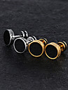 1 Pair Men\'s Vintage Style Stud Earrings - Titanium Steel Platinum Plated Rose Gold Plated Vintage Trendy Jewelry Gold / Silver For Street