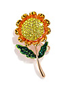 Women\'s Retro Brooches - Rhinestone, Gold Plated Sunflower Ladies, Stylish, Korean Brooch Jewelry Gold For Street
