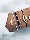 6stk Dame Flerlags Perleambånd Armbånd sæt Kort Flyvemaskine Bohemisk Mode Armbånd Smykker Guld Til Ceremoni Aftenselskab