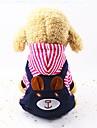 Hunde Overall Hundekleidung Streifen Rot Blau Pluesch Kostuem Fuer Fruehling & Herbst Winter Unisex Laessig / Alltaeglich Streifen